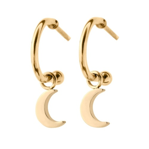 Bright Night Earrings Moon gold