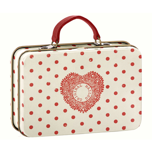 Metal Suitcase cream coral dot