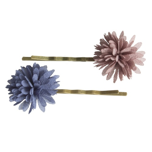 Chiffon Flower Bobby Pin denim