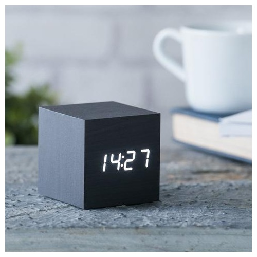 Cube Click Clock black-white